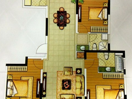 徐州绿地工润·和平壹号3室2厅1厨2卫户型图