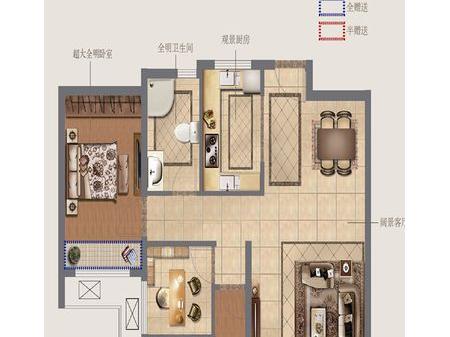 徐州奥体沁园3室2厅1厨1卫户型图
