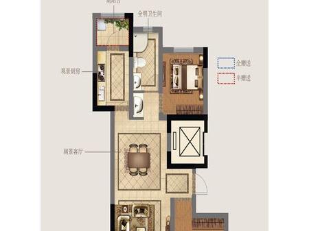 徐州奥体沁园2室2厅1厨1卫户型图