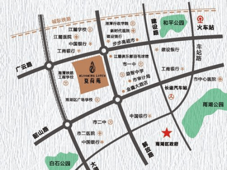 湘潭江麓中央广场•夏荷苑交通图