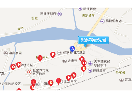 张家界锦绣边城交通图