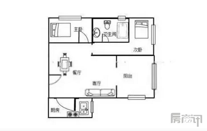上海同润·菲诗艾伦 2室2厅1卫 中等装修