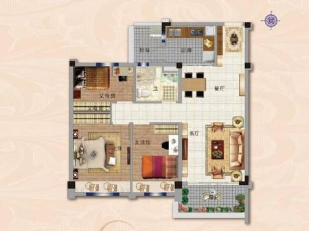 南京碧桂园世纪城邦户型图3室2厅1厨1卫