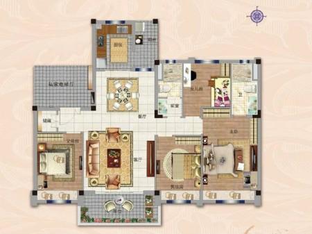 南京碧桂园世纪城邦户型图4室2厅1厨2卫