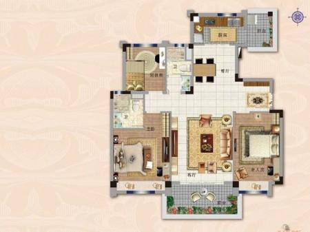 南京碧桂园世纪城邦户型图3室2厅1厨2卫