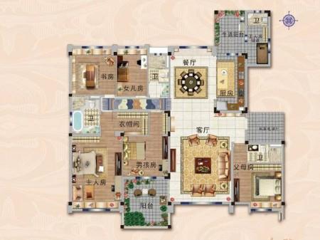 南京碧桂园世纪城邦户型图6室2厅1厨4卫