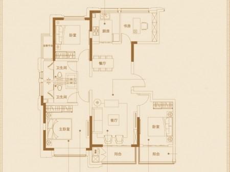 南京葛洲坝招商紫郡蘭园户型图4室2厅2卫