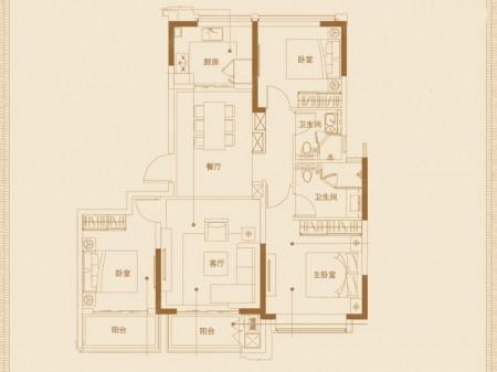 南京葛洲坝招商紫郡蘭园户型图3室2厅2卫