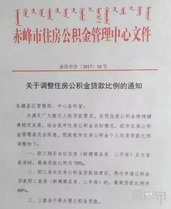 赤峰市公积金贷款额度