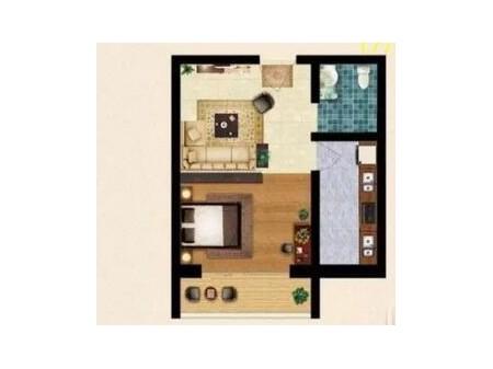 出售上和桃园 1室1厅1卫 46平 简装 15万
