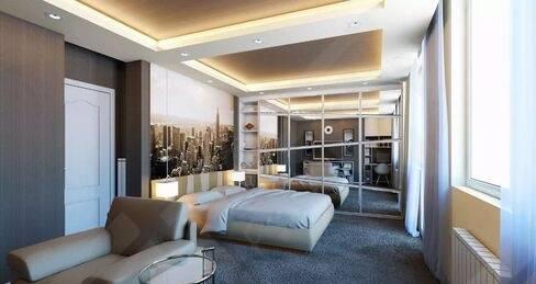 卧室装潢设计效果图8   现在的单身贵族对卧室装潢会喜欢浅灰~黑白