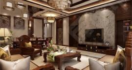 【别墅装修精品设计案例展示】华贸东滩别墅装修新中式风格设计